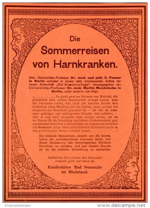 Original-Werbung/Inserat/ Anzeige 1902 - 1/1 SEITE: DIE SOMMERREISEN VON HARNKRANKEN / BAD NEUENAHR ca. 190 x 280 mm