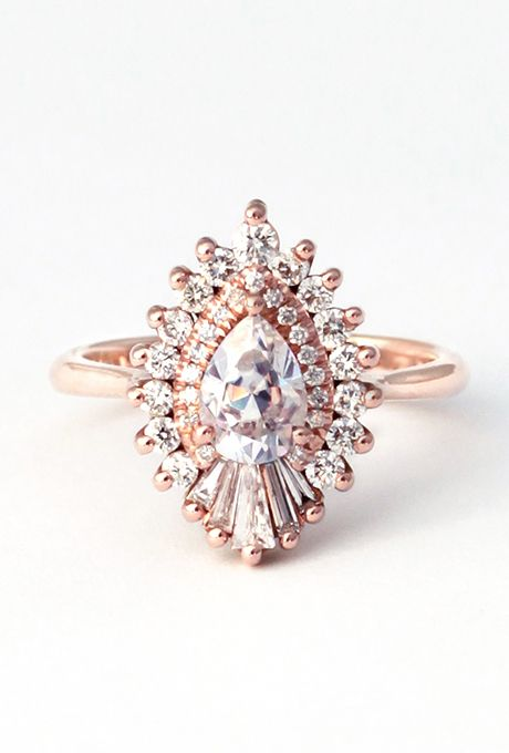 "Brides.com: Unique Engagement Ring Settings ""Rhapsody"" pear-cut engagement ring, price upon request, Heidi GibsonPhoto: Courtesy of Heidi Gibson"
