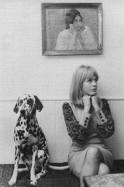 Marianne Faithfull and dalmatian