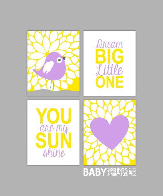 Yellow and Lilac Nursery art Set of 4 8x10. You by babyartprints