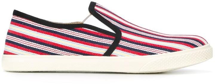 Stella McCartney striped slip-on canvas sneakers