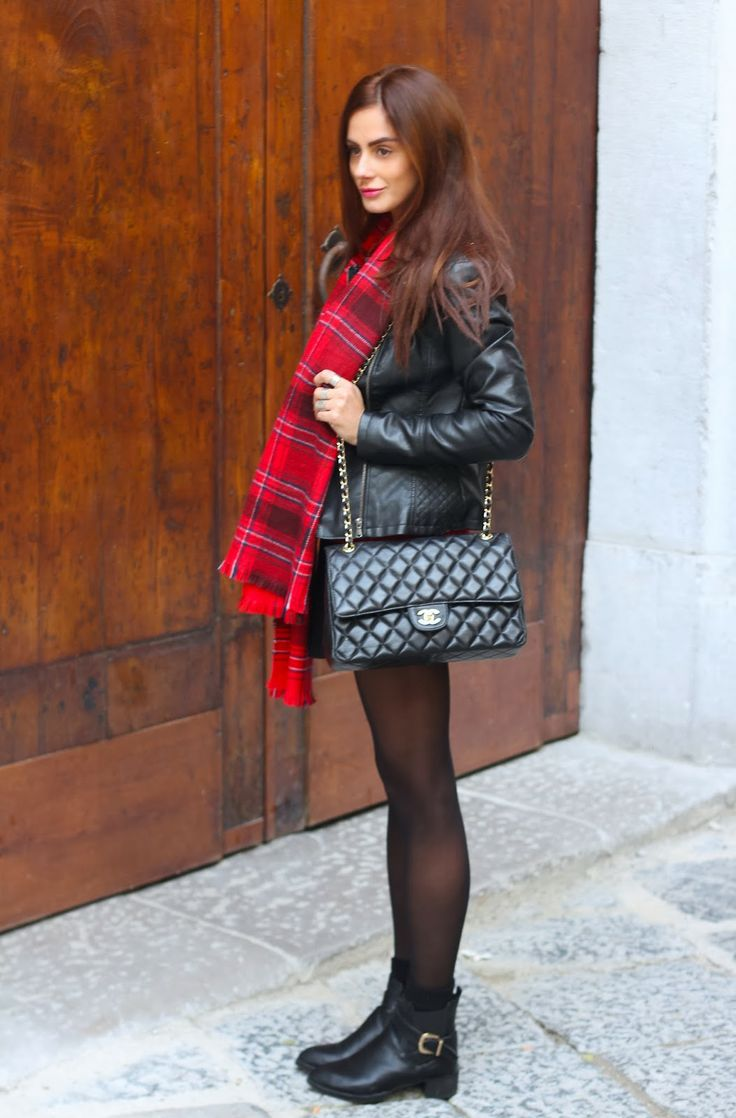 Red Tartan scarf, leather jacket, tights, + ankle boots:  Into the groove By Marie Zamboli