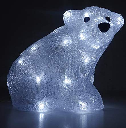 Christmas Concepts® 21cm White LED Acrylic Polar Bear Christmas