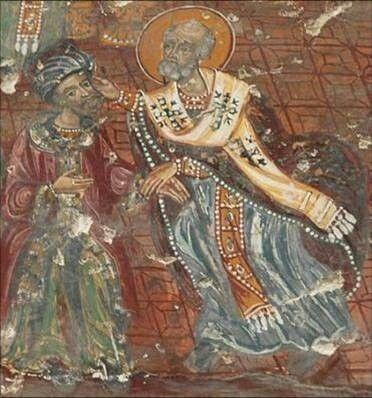 Ο Άγιος Νικόλαος ραπίζει τον Άρειο (Παναγία Σουμελά, Τραπεζούντα)