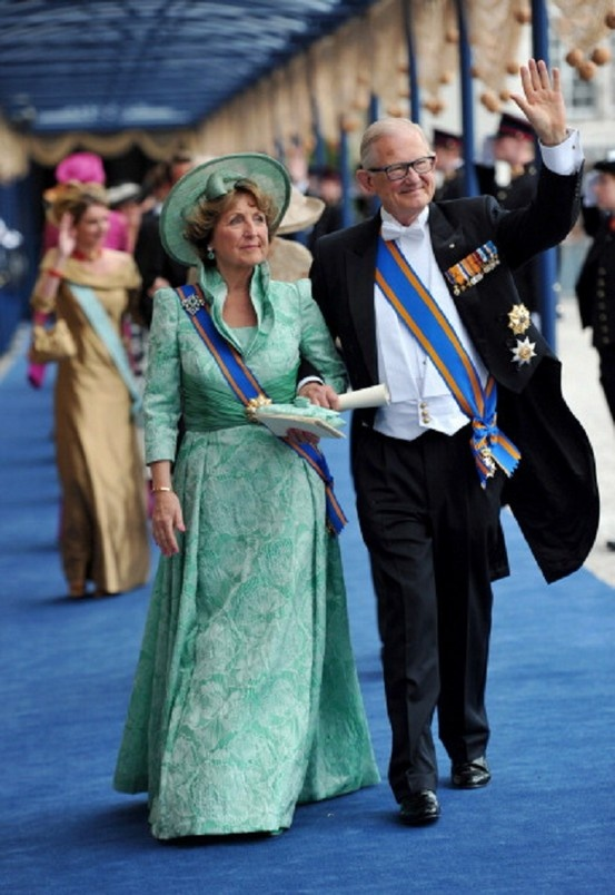 Princess Margriet of the Netherlands and Pieter van Vollenhoven leave following the inauguration ceremony for HM King Willem Alexander of the Netherlands, at New Church.