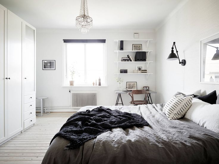 PHOTO Jonas Berg For Stadshem We Love The Layout Of This Bedroom That Positions A Handy IKEA Trestle Table In Corner Easy Access And Late Night