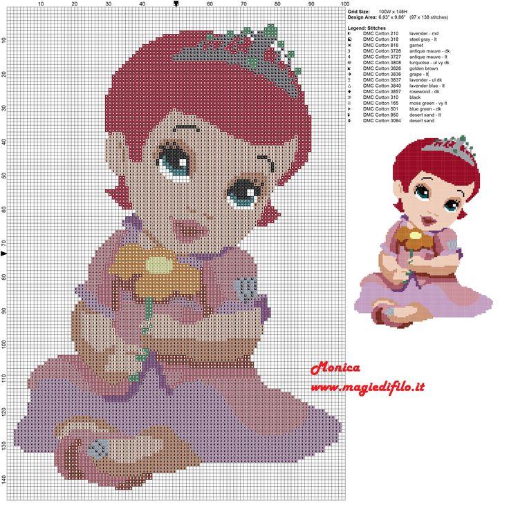 Little baby Ariel free cross stitch pattern