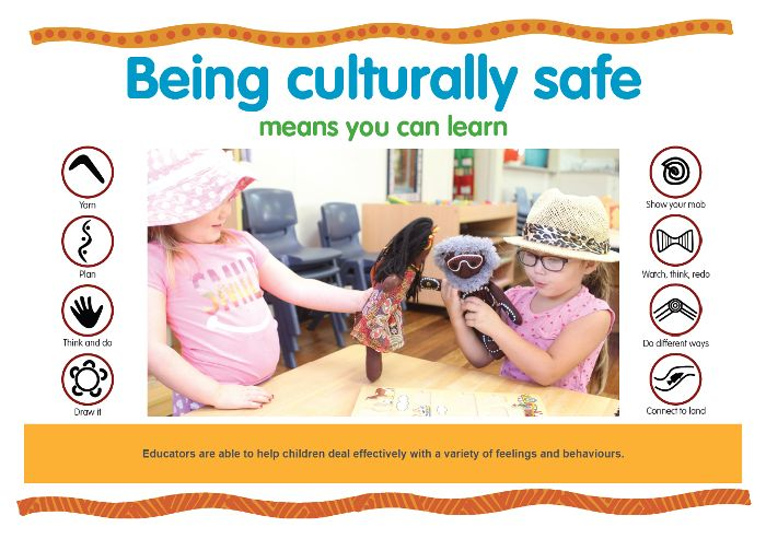 Educators are able to help children deal effectively with a variety of feelings and behaviours. https://www.kidsmatter.edu.au/sites/default/files/public/KM%20Poster_C2_Being%20culturally%20safe_HQ.pdf