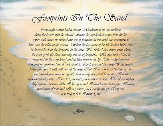 Footprints in the sand poem printable version footprints in the sand