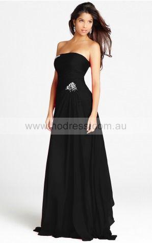 Sleeveless None Strapless Floor-length Chiffon Evening Dresses dt00175--Hodress