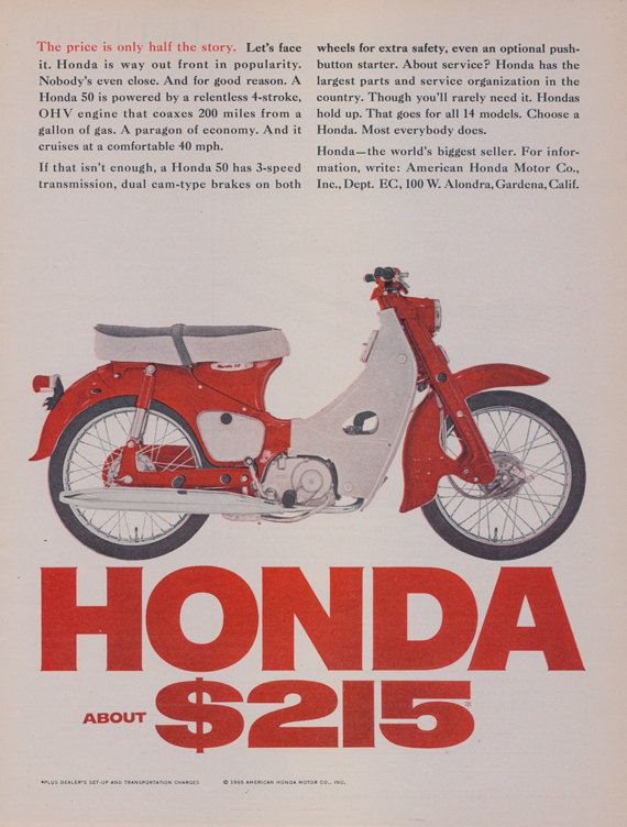 1965 Honda 50 Scooter Motorcycle Vintage Advertisement Print Red Motorbike Ad Man Cave Wall Art Decor