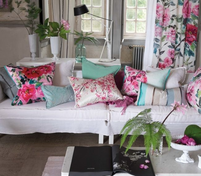 Chinese Whispers: Designers Guild's Spring 2015 collection: Designers Guild new season pink and duck egg Cushion story - from left to right:  Chinese Peony Fuchsia printed  silk satin 60x60cm  Aurelia Duck Egg cut velvet 60x30cm  Plum Blossom Fuchsia printed silk satin 60x 45cm  Aqua Rose Aqua printed pure linen 60x45cm  Bellariva Celadon pure silk 60x30cm  Visit your local stockist for details.