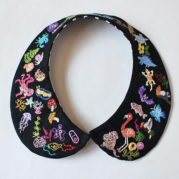 """Evolution"" embroidered detachable collar — oktak"