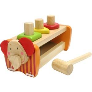 Mooi houten I'M Toy staafjes #hamerbank met een #olifantenhoofd. Sla de houten #staafjes door de vormen op het houten hamerbankje en draai ze om, om ze vervolgens weer opnieuw er door heen te slaan. Of sla ze er helemaal doorheen en doe ze er opnieuw in. Het houten hamerbankje is tevens een vormenbord. #speelgoed