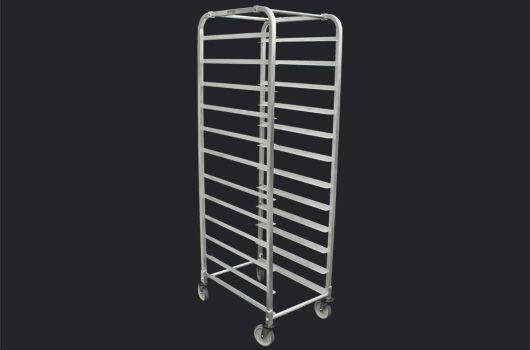 Aluminium bun pan rack, 12 shelves Model: DRACK-1215-ALU. 20 Shelf model also available.