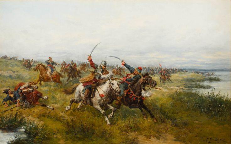 LUDWIK GĘDŁEK (1847 - 1904)  WALKA O SZTANDAR   olej, płótno; / 42x68cm