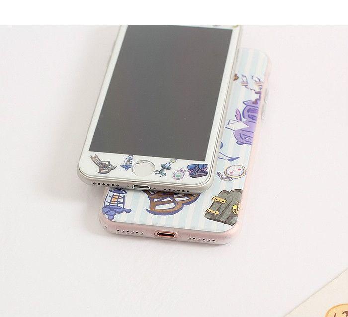 不思議の国のアリスiphone8携帯カバー液晶保護フィルム付きセットガラスフィルム7plusジャケット全方面守る6splusケースふしぎの国のアリス