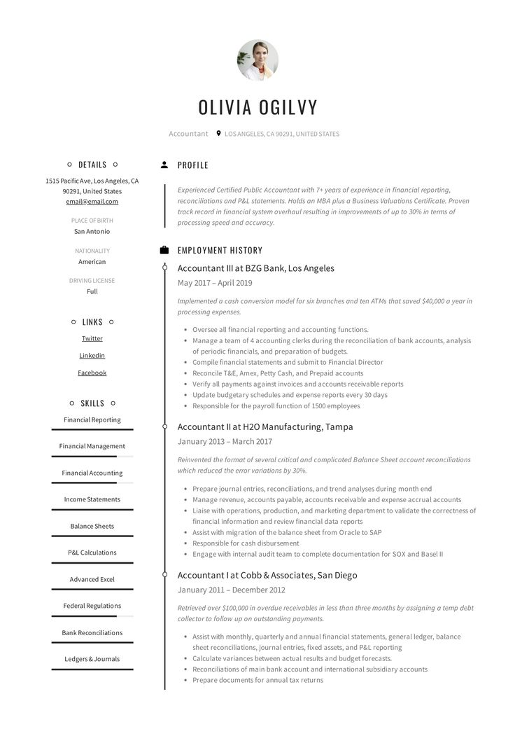 Professional Accountant Resume, template, design, tips