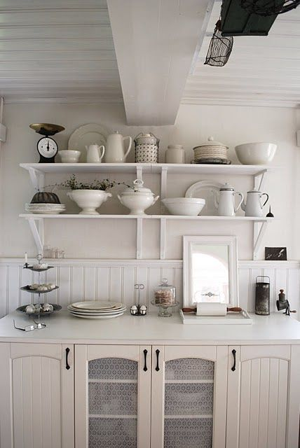✣ French Country Farmhouse ✣  kitchen -- Shelving, sideboard for added counter/cabinet space.