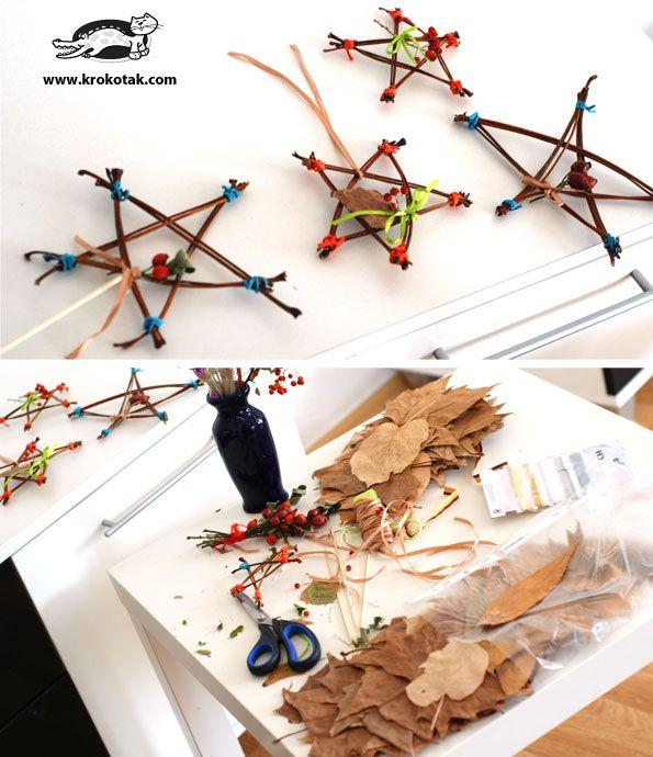 звезди от природни материали. есени занимания за деца