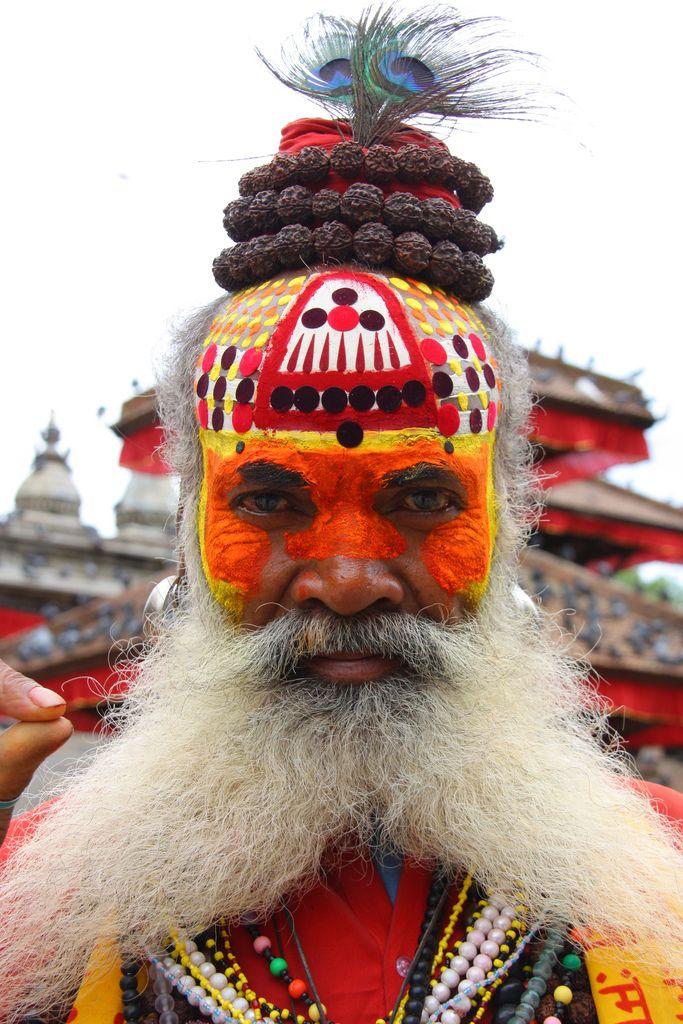 Een sadhu bij de Pashupatinath-tempel, Kathmandu