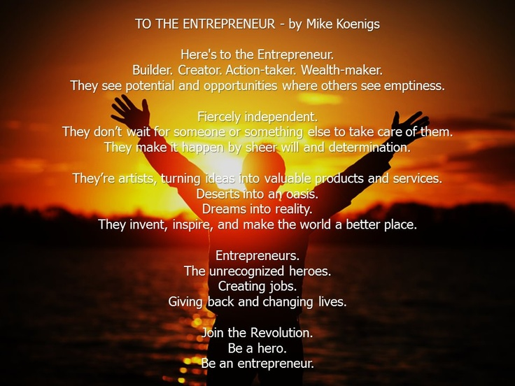 "LOVE this poem! Would you agree? ""Here's to the Entrepreneur"" by Mike Koenigs (founder of Instant Customer Revolution http://goo.gl/BWBwA)"