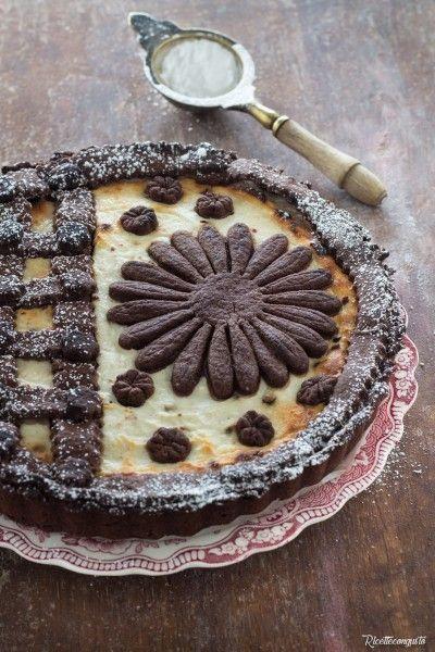 Crostata di frolla al cacao con crema di ricotta #crostata #cioccolato #cacao #ricotta