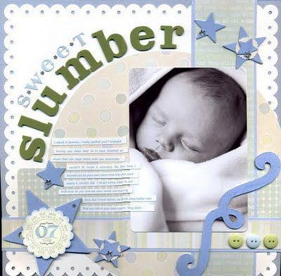 Sleeping baby scrapbook page