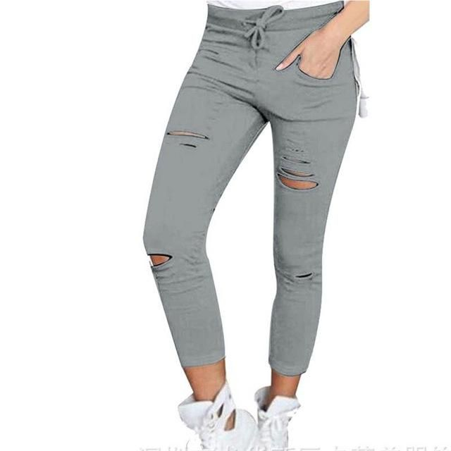 Women's Thin Pants Capri Leggings w/Holes Plain Weave Pencil Pants Casual Sweatpants