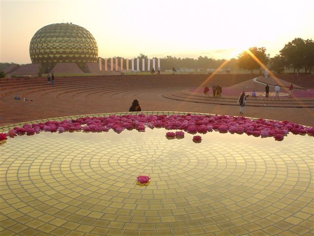 "Auroville, India.   An ""experimental"" town created by The Mother of the Sri Aurobindo Ashram to celebrate unity and spirituality."