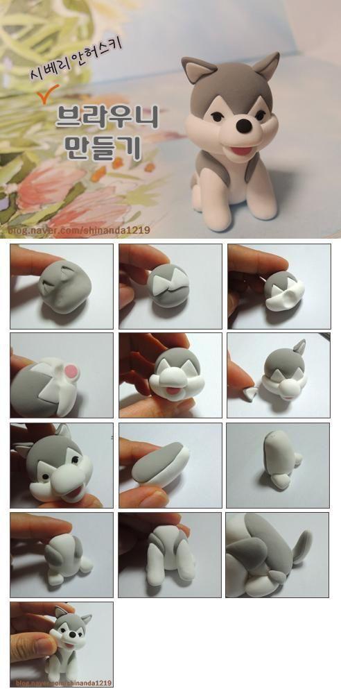 Créer un Husky en pâte polymère