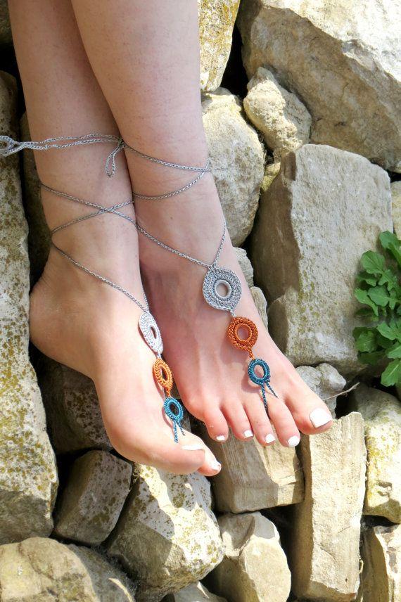 Crochet barefoot sandals pastel colors sandals by EmofoFashion, $15.00