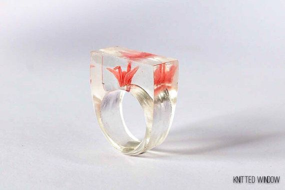 Tiny Pink Origami Crane Ring in Eco Friendly by KnittedWindow