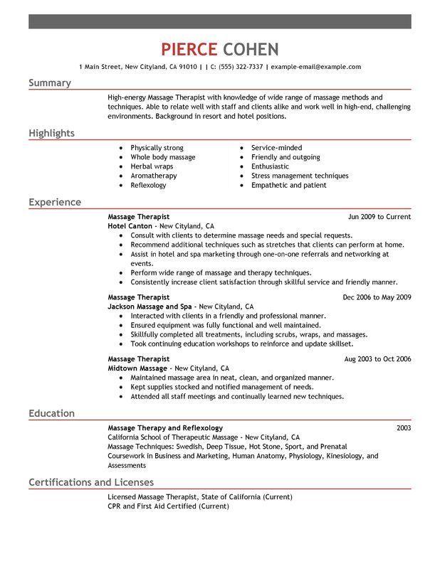 Registered Massage Therapist Resume Template Massage Therapy - massage therapist resume samples