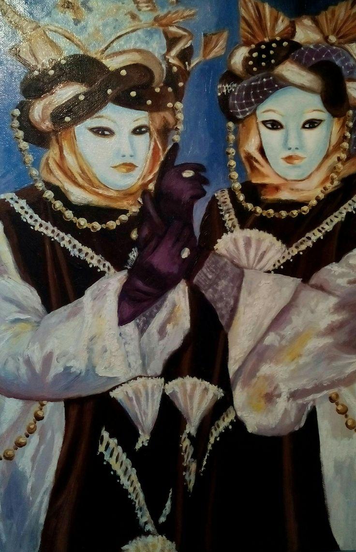 Masques de Venise brun et satin blanc. Peinture à l'huile, Christine Monsion