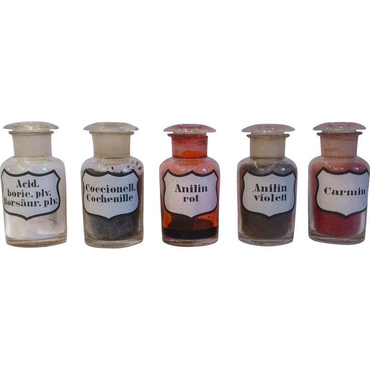 German Set of 5 Pharmacy Bottles