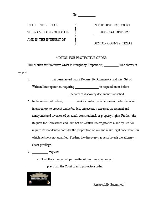 Protective Order Motion W Logo  Family Court    Family