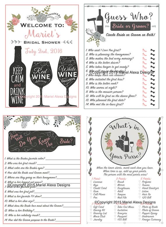 Personalized Bridal Shower Game Pack - Vineyard Winery Theme - Welcome Sign - Guess Who Game - How Well Do you know the bride - What's In Your Purse - PDF Instant Download DIY Printable