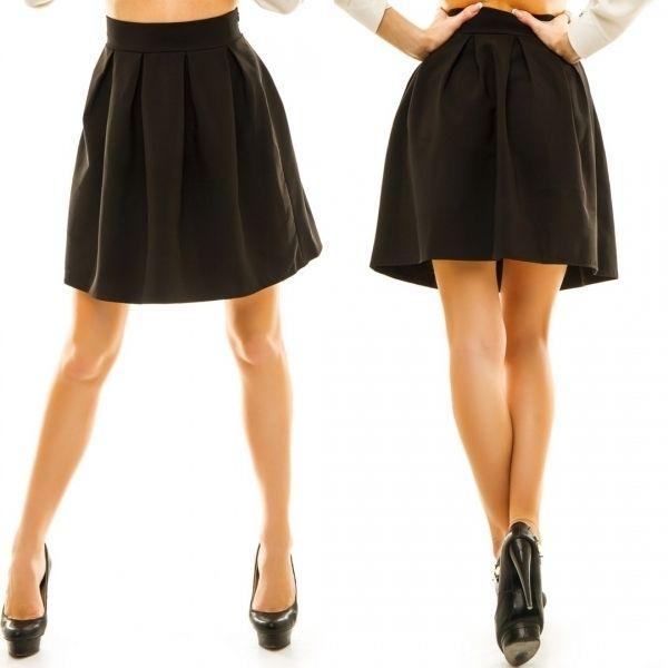 Женская коротка юбка-клеш широкий пояс сзади потайная молния черный