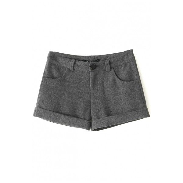 Plain Single Button Turn Up Hem Tweed Loose Shorts (1,180 PHP) ❤ liked on Polyvore featuring shorts, beautifulhalo, bottoms, loose fit shorts, loose shorts, loose fitting shorts and tweed shorts