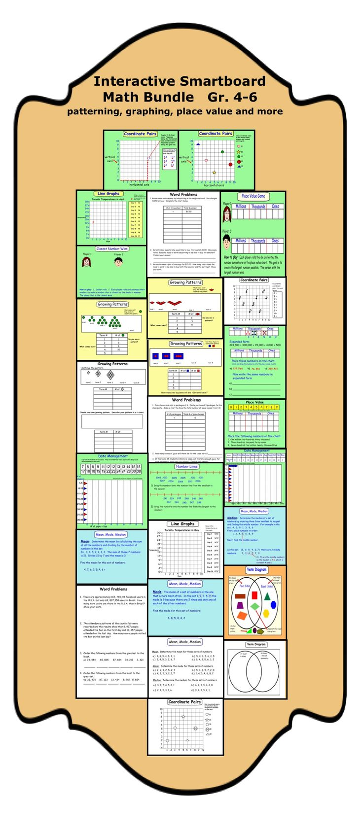 48 best smartboard fun images on pinterest 4th grade math art interactive smartboard math gr 4 6 patterning graphing venn diagrams pooptronica Images