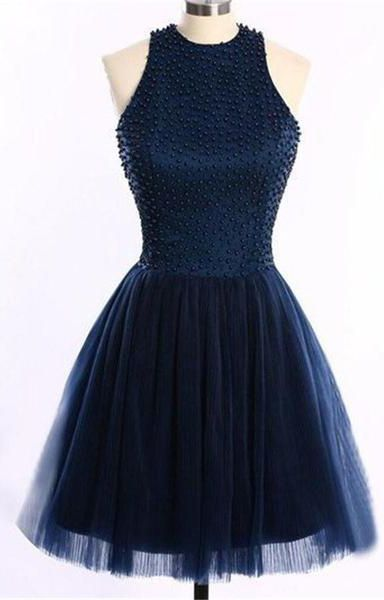 Navy Blue O-Back Short Prom Dresses Homecoming Dress,Sleeveless prom dress,