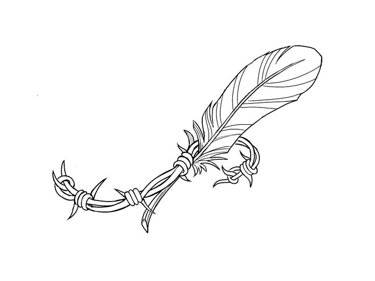 Barbed wire feather tattoo designed by Kim White free to use.
