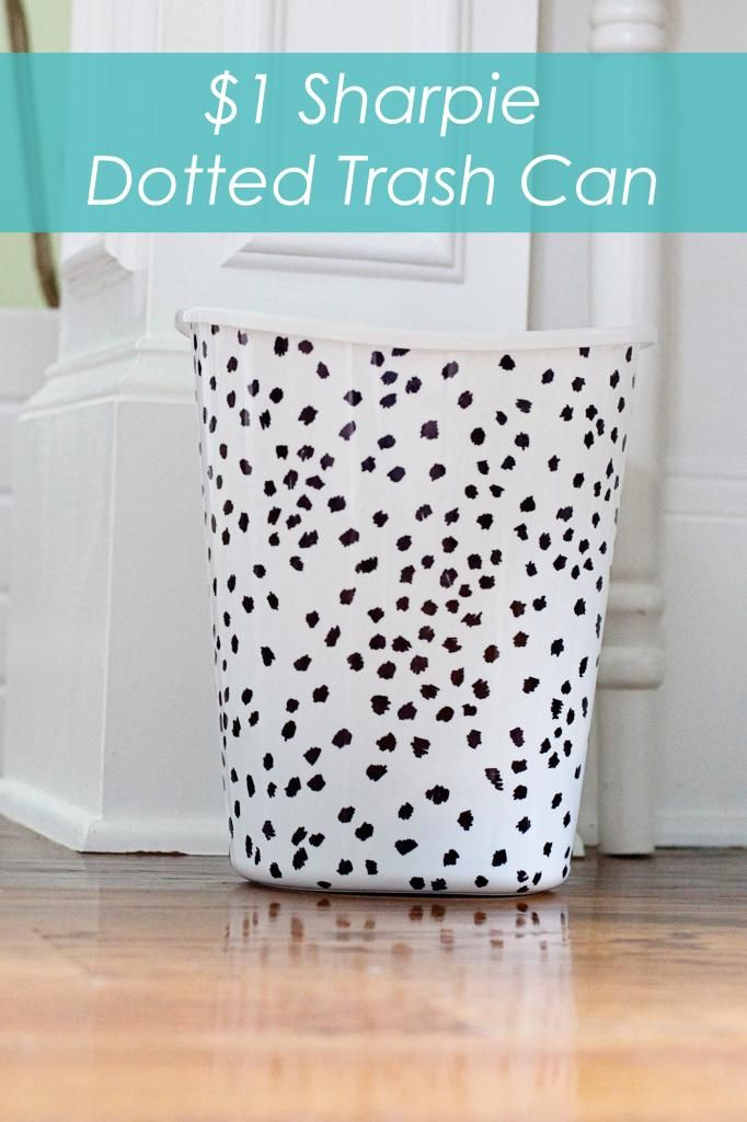 Cheap and chic trashcan!  Only a dollar store plastic wastebasket and a Sharpie!  Dottie - www.bowerpowerblog.com