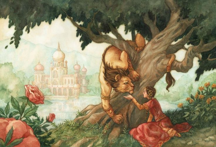 Beauty and the Beast - A gallery-quality illustration art print by Elisabeth Alba for sale.