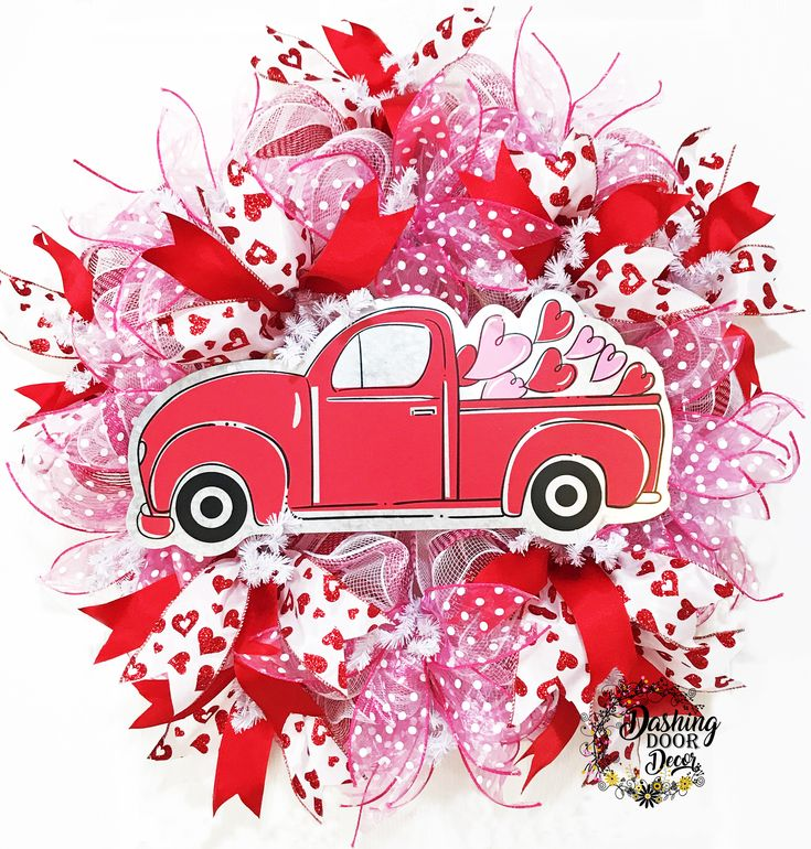 Valentine's Day RED TRUCK w/ Hearts Front Door Red Pink & White Deco Mesh Wreath