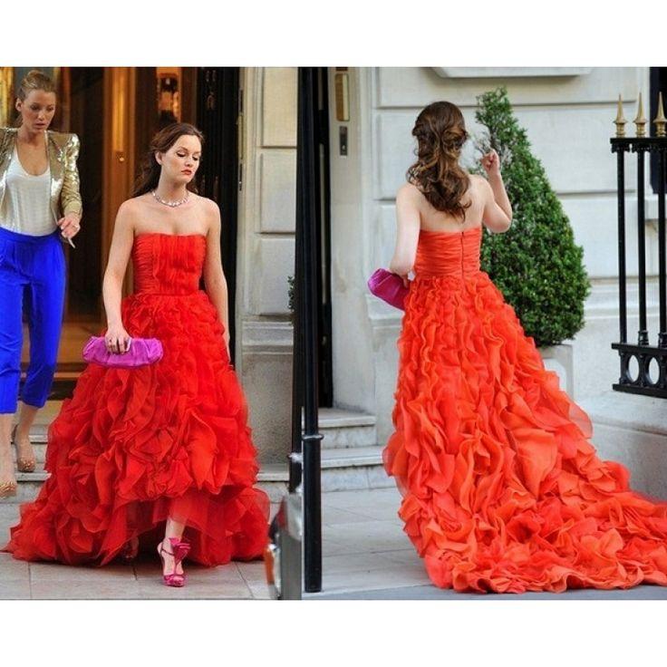 Leighton Meester (Blair) Red Strapless Ruffled Custom Prom Dress in Gossip Girl Season 4 in Paris