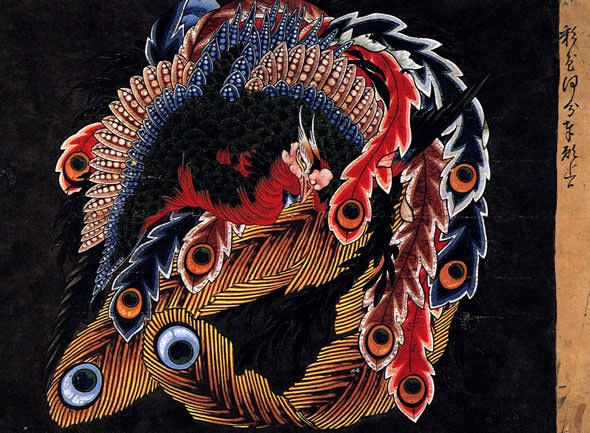 北斎の岩松院本堂天井絵。八方睨大鳳凰図。仏教への信仰心が篤かった北斎晩年の作品。真ん中で見据える鳳凰の眼が印象的。