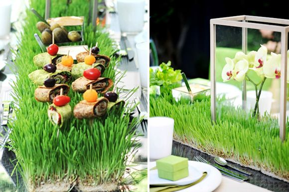 Grow wheat grass on your table, and use it also as an attractive center piece! (Place on table when grown enough to look nice). Use for decoration and holding food at parties, like above! Nice idea.  #Wheatgrass for #Antiageing http://shop.neisswellness.com/dietary-supplements/live-green/real-grass