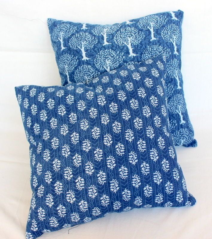2 Pcs MIX Lot Indigo Blue Dye Dabu print cotton cushion cover shibhori pillows   #KhushiHandicraft #ArtsCrafts